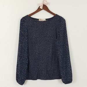 LOFT Blue & White Cream Spotted Long Sleeve Top S